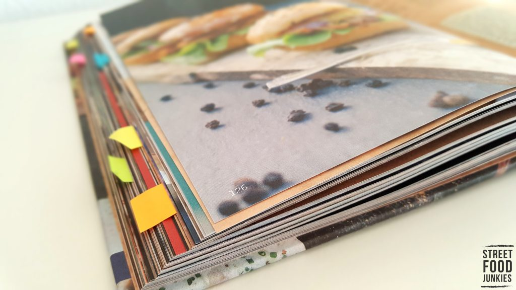 Markierungen im Kochbuch Food Truck Kitchen