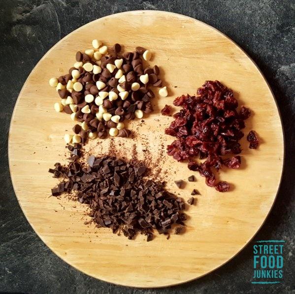 Zutaten Cookies mit Cranberries und Zartbitterschokolade